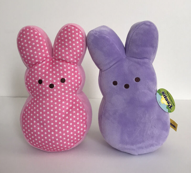 "Peeps Marshmallow Bunny Plush Pink And Purple 10"""