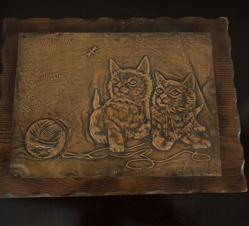 Vintage 70's Kittens Cats Hand Pressed Tooled Copper Wall Hanging Picture