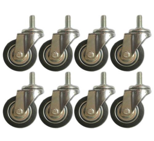 "8 Pack Swivel Stem Caster 3"" Hard Rubber Wheel 1.2"" Tal Threaded Stem Heavy Duty"