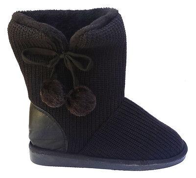 Womens Classic knit Sweater Crochet, Faux Fur Lined Mid Calf Black Flat Boots