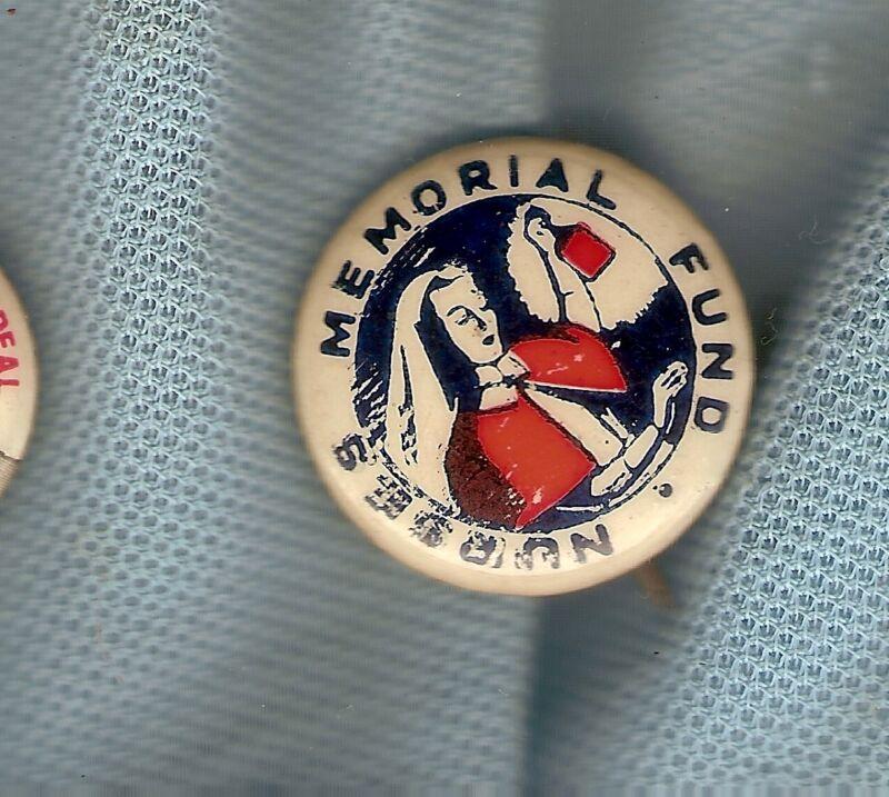#D164. NURSES MEMORIAL FUND TIN BADGE