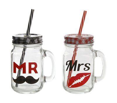inkgläser mit Halm 450 ml Glas Gläser Hochzeit Geschenk Idee (Kunststoff-gläser Mit Strohhalmen)