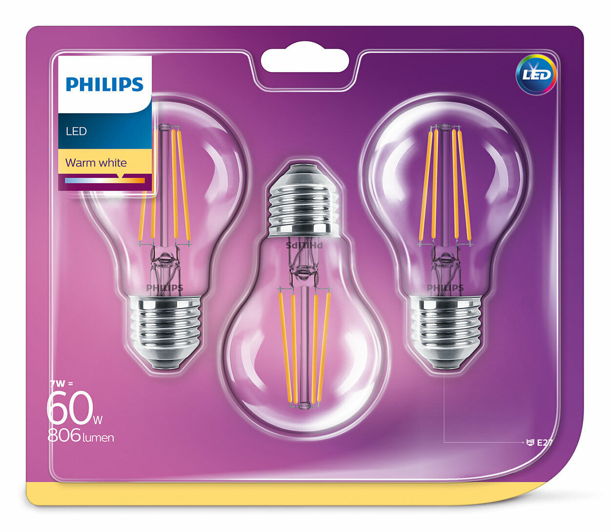 3er-Set Philips LED Birne E27 7W 806lm warmweiss Filament wie 60W Glühlampe