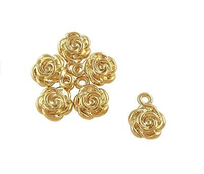 14k Gold Rose Beads - 14k gold plated charm rose charm beads pendand bracelet necklace plated 8361