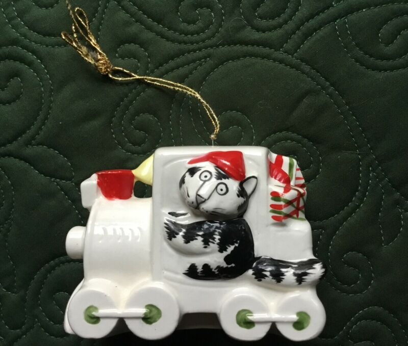 Rare Vintage Kliban Cat in Train Christmas Ornament 1981