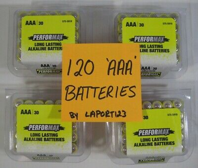 120 New Performax AAA Alkaline Batteries Long Lasting 4 Pks of 30 Exp Sept 2029 for sale  Shipping to India