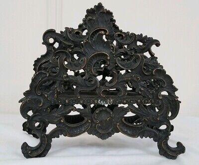 Rococo cast verdigris Brass/Bronze desk top letter holder, w/3  Compartments -