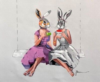 Modern Art Animal, Rabbit Girls ,  20x24, 100% Hand painted on Giclee Canvas,