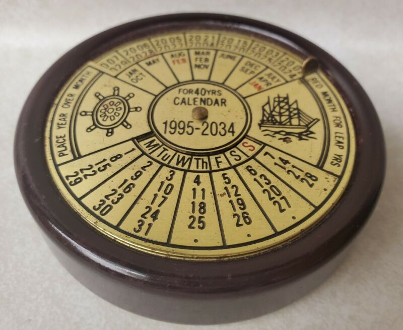 For 40 Years Perpetual Calendar 1995-2034 Heavy Paperweight Office Collectible