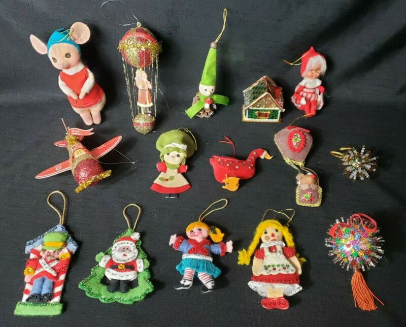 Lot 15 Felt Sequin Glitter Christmas Ornaments ~ Vintage ~ Mrs Claus Knee Hugger