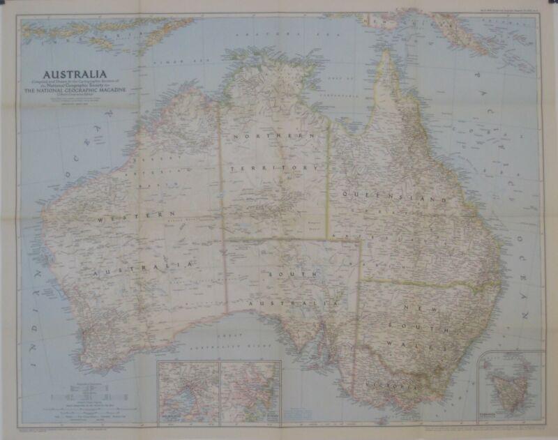 1948 Map AUSTRALIA Melbourne Sydney Tasmania Perth Brisbane Great Barrier Reef