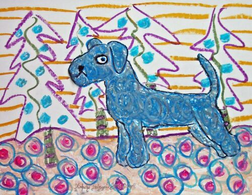 Kerry Blue Terrier 5x7 Dog Fine Art Print Hand Signed by Artist KSams Christmas