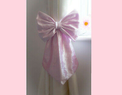 Nursery Decor Baby Girls Large Velvet Cot Bow Princess Bedding Pink x 1 Bow for sale  Shipping to South Africa