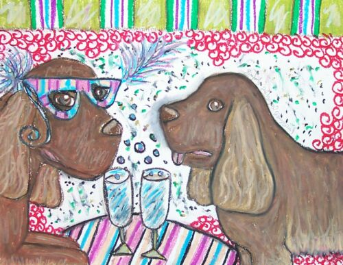 SUSSEX SPANIEL Drinking Champagne Mardi Gras Dog Collectible 8 x 10 Art Print