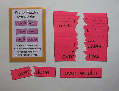Teacher Made Literacy Center Resource Game Prefix Puzzles over & - Prefix Game