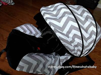 baby BOY gray black infant car seat cover canopy cover fit most infant seat