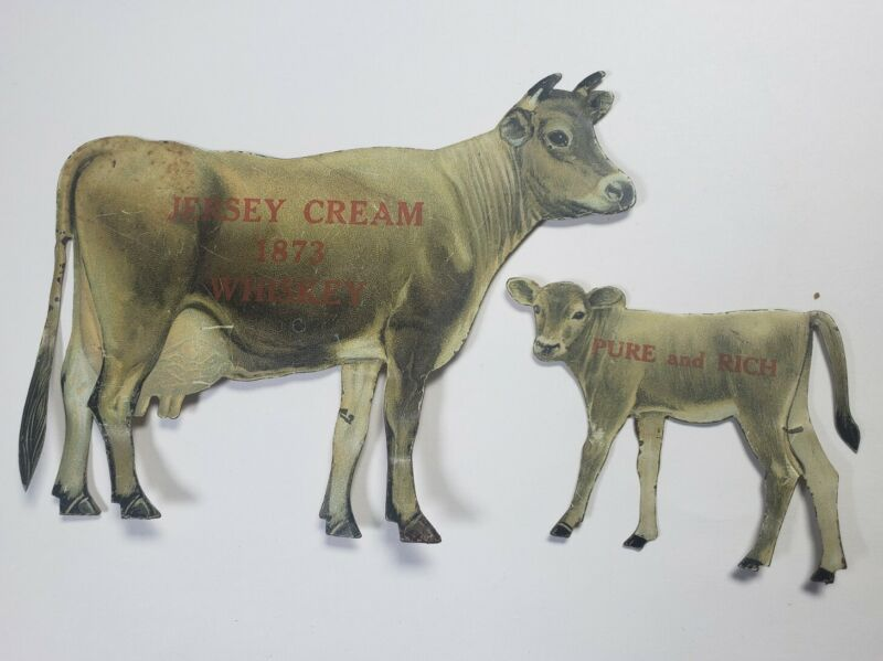 Rare Antique Jersey Cream Whiskey 1873 Tin Tabletop Ad Sign Cow by L. Eppstein