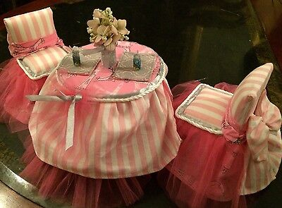 New Custom Handmade PARIS STYLE Barbie Doll Furniture Table And Chairs Beautiful