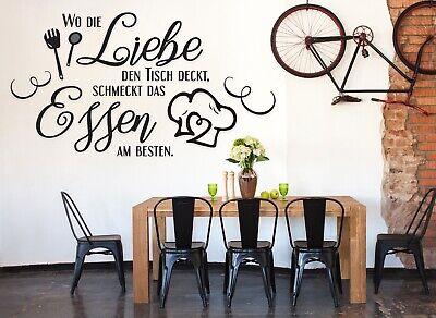 Wandtattoo küchensprüche Wandtattoo Wo die Liebe den Tisch deckt Küche Essen a25 Kunststoff Tisch Deckt