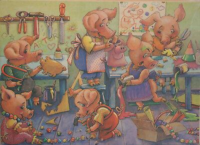 DDR Original Annaberger Puzzle, Schweinchen basteln, 200 Teile, OVP RAR!