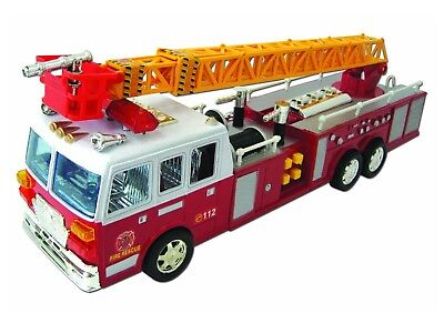 Team Power Feuerwehrauto 43cm Licht Sounds ausziehbare Leiter Friktionsantrieb
