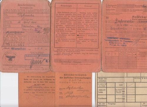 Bescheinigung Meldekarte Arbeitskarte woman Warsaw WW2 Germany Poland lot of 4