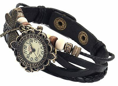DRAGONFLY Quartz Fashion Weave Wrap around Leather Bracelet Women Wrist Watch