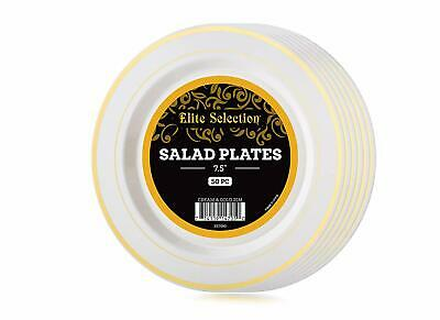 Gold Plastic Plates Bulk (Pack Of 50 Salad/Dessert Disposable Party Plastic Plates Ivory Color bulk)
