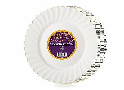 ble Party Plastic Plates Cream Ivory Color With Silver Rim (Teller Bulk)