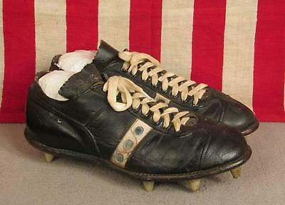 d72701b650b Vintage 50s Spot Bilt Black Leather Low Top Football Shoes Cleats Baseball  Sz.9