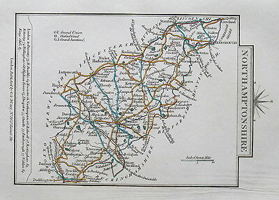 NORTHAMPTONSHIRE 1828 Miniature Antique Map by Cary Hand Coloured