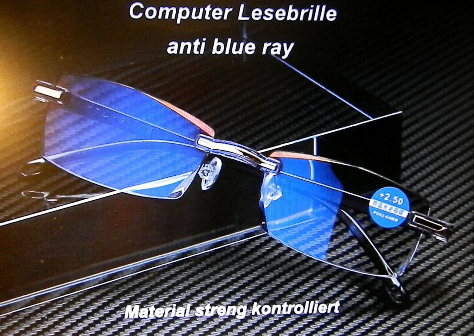 Leichte randlose Computer Lesebrille Anti-Blu-Ray Damen Herren 2 Farb. 1,04,0