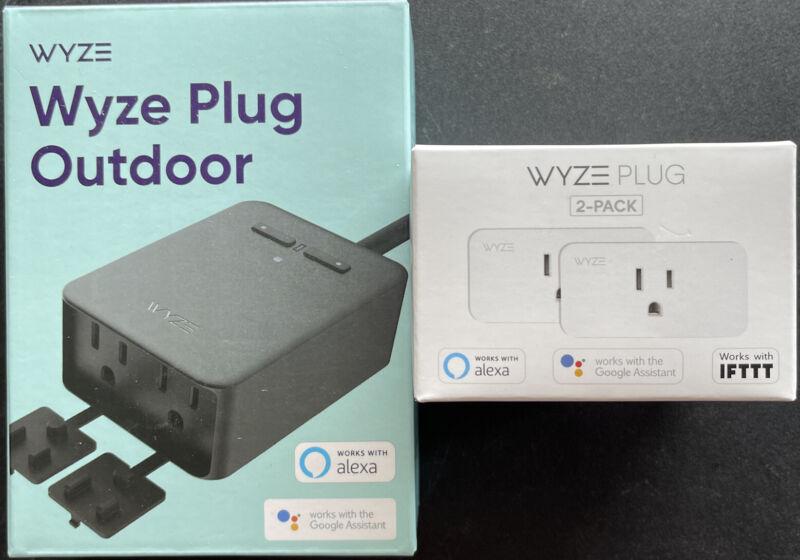 New Wyze Plug Outdoor (2 Plugs In 1) IP65 Weather Resistant + Indoor Plug 2 Pack