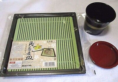 Zaru Soba Noodle Tray & Side Soup Vessel  SET WASHOKU Food Made In JAPAN