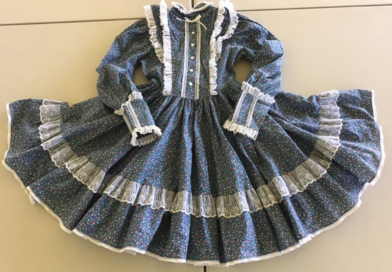 Vintage Mini World Inc. Girls 8 Dress Blue Floral Lace Prairie Full Circle