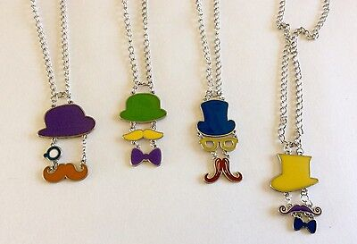 Set Of 4 Top Hat Mustache Pendant Necklace Charms Craft Party Favor Giveaway NEW](Top Hat Favors)