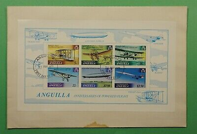 DR WHO 1979 ANGUILLA FDC POWERED FLIGHT ANNIVERSARIES S/S C240875