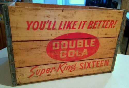 Vintage Double Cola Orange Crush Soda Wooden Bottle Crate sign Kewaunee Wis