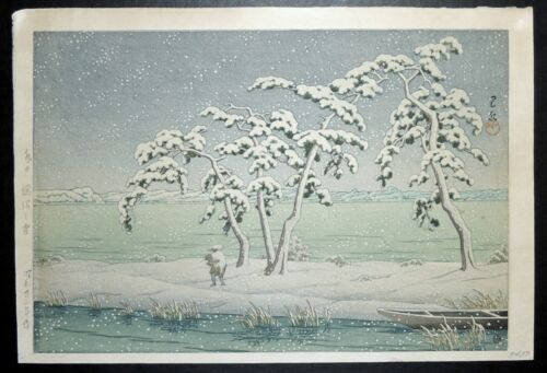 "Japanese Woodblock by Kawase Hasui ""Snow at Hinuma Swamp c. 1947"