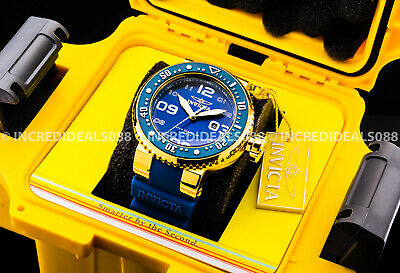 Invicta Mens Grand Pro Diver 18Kt Gold Case Blue Dial Strap Watch 1 Slot Box