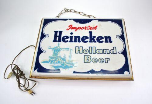 Heineken Imported Beer Vintage Hanging Sign lighted Holland Bar Pub Beer
