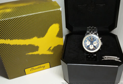 Vintage Breitling Navitimer A30021 Blue Dial Chronograph Mens Wrist Watch w Box - watch picture 1