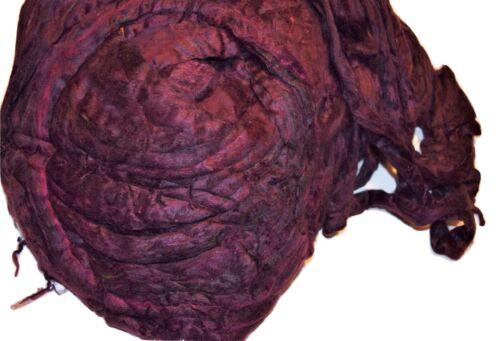 3 oz Pulled Mulberry Silk Roving fiber for Mixed Media Felting Spinning Plum