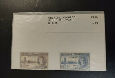TRINIDAD & TOBAGO STAMPS • MLH 1946 Scott# 62-63 • PEACE ISSUE • 99¢ LOW START