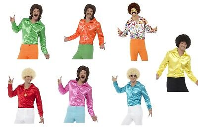 Men's 1960's Fever Disco Groovy Colourful Fancy Dress Costume Shirts Stag Theme (Disco Themed Costumes)