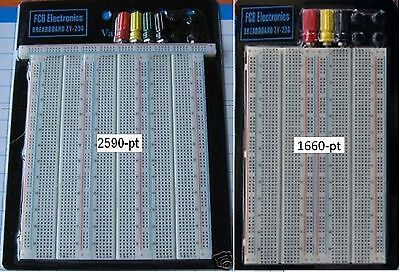 Fcbusa 2x Breadboards 1x 1660 1x 2590-pt Breadboard W 3 Power Posts Large