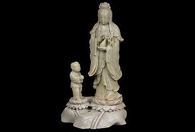 China 20. A Chinese Soapstone Figure of Guanyin & Shan Tsai Cinese Chinois Chino