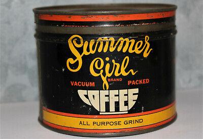 RARE Vintage SUMMERGIRL H.D. Lee Mercantile Salina 1 lb keywind Coffee Tin Can