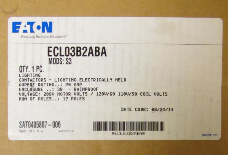 EATON CUTLER HAMMER ECL03B2ABA Lighting Contactor  3R Enclosure Mods: S3