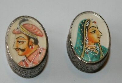 Pair of Indian silver boxes with mughal painting
